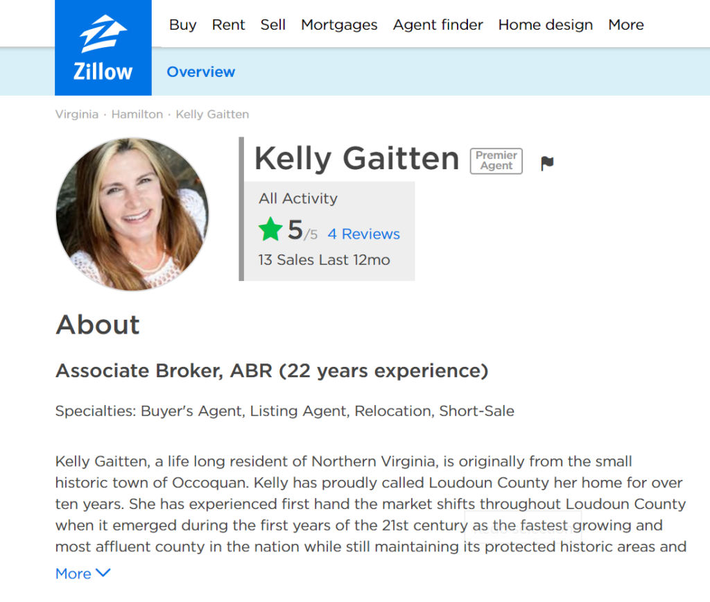 Kelly Gaitten is Rated 5/5 On Zillow