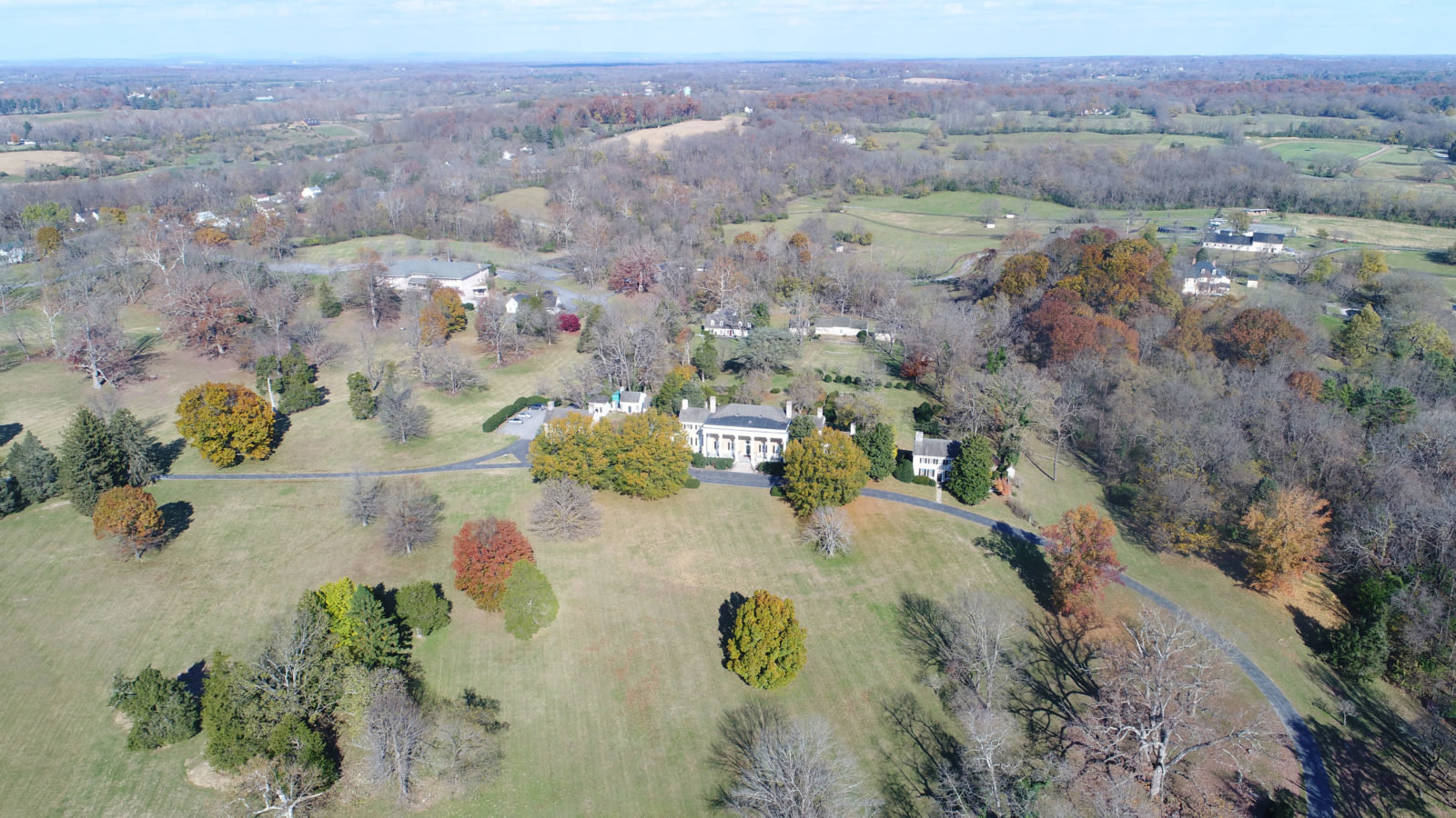 Aerial view of Historic Carter Hall. As seen from the South, the Georgina Manor home overlooks a great lawn on the 87-acre estate.