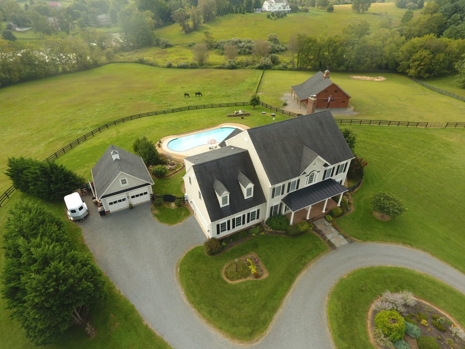 Aerial view of 19676 Greggsivlle Road in Purcellville Virginia