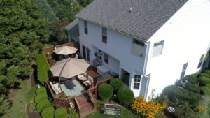 Aerial view of private deck