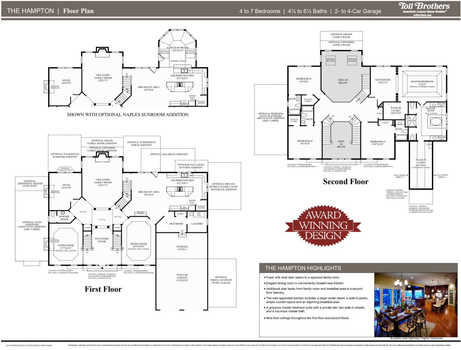 The Hampton Floor Plan featuring the optional Naples Sunroom Addition