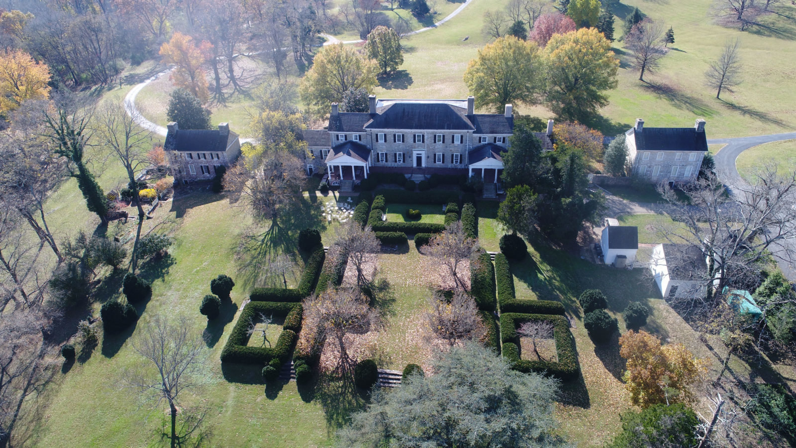 Aerial view of Carter Hall and it's terraced boxwood gardens.