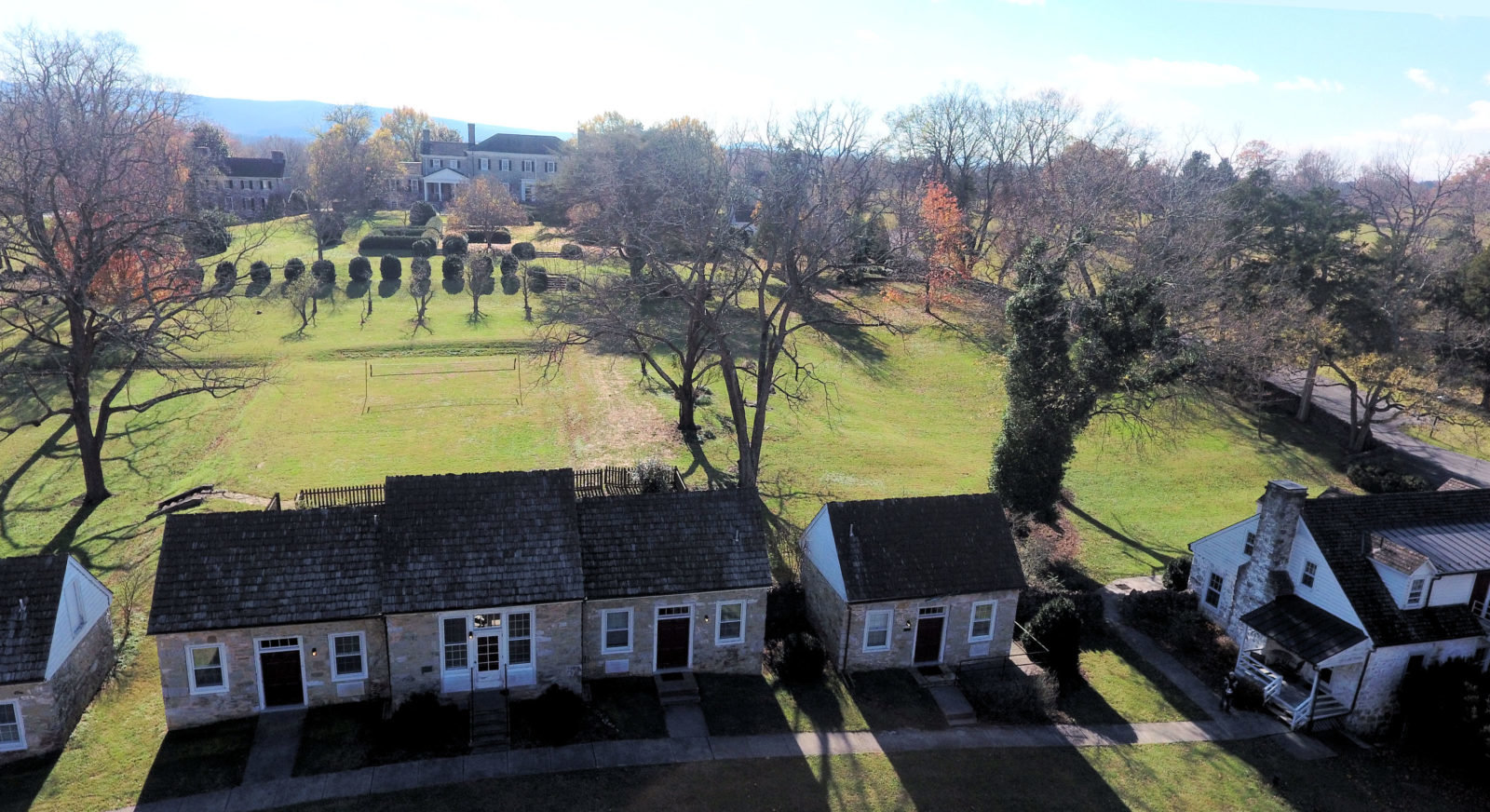 Aerial view of the guest cabins at Carter Hall. The manor home is visible behind them.