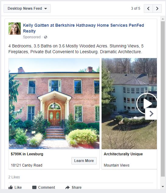 facebook campaign for a home for sale in leesburg virginia