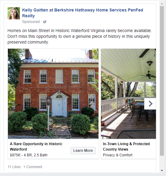 facebook post featuring home for sale in waterford virginia