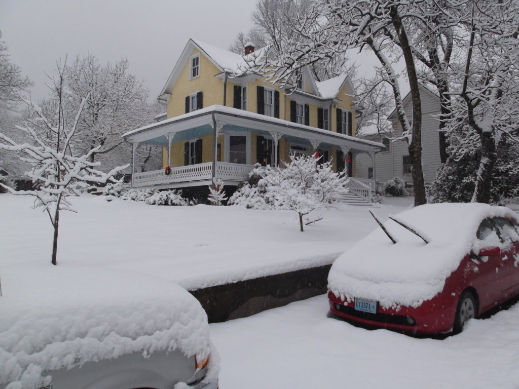 A Snowy View of the Home at 18339 Railroad Street in the Village of Bluemont, Virginia