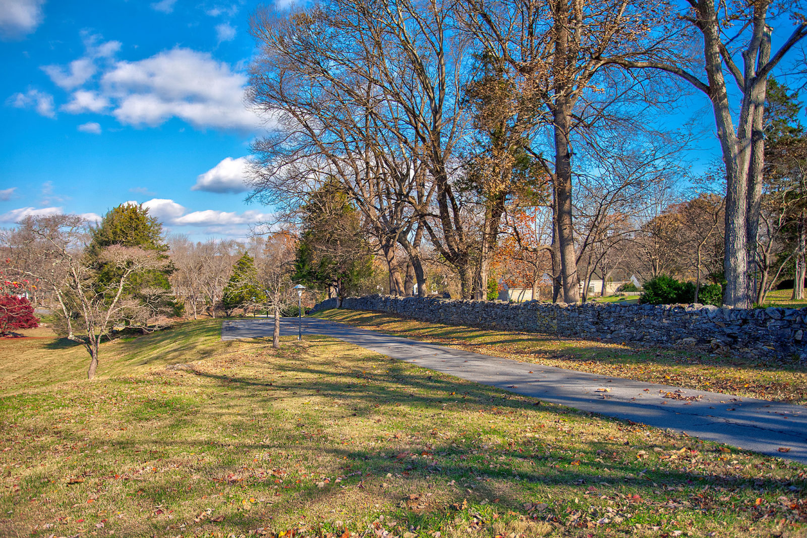 Hand stacked stone walls line the driveway at Carter Hall near Millwood, Virginia.