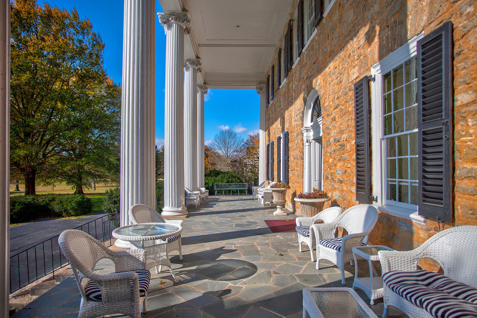 The portico at Carter Hall in Millwood, Virginia. Designed by William Thornton, architect of the U.S. Capitol Bulding.