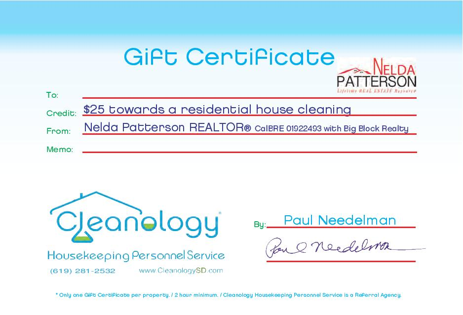 Nelda Patterson Realtor San Diego Ca Real Estate Cleanology Discount Certificate Page 001