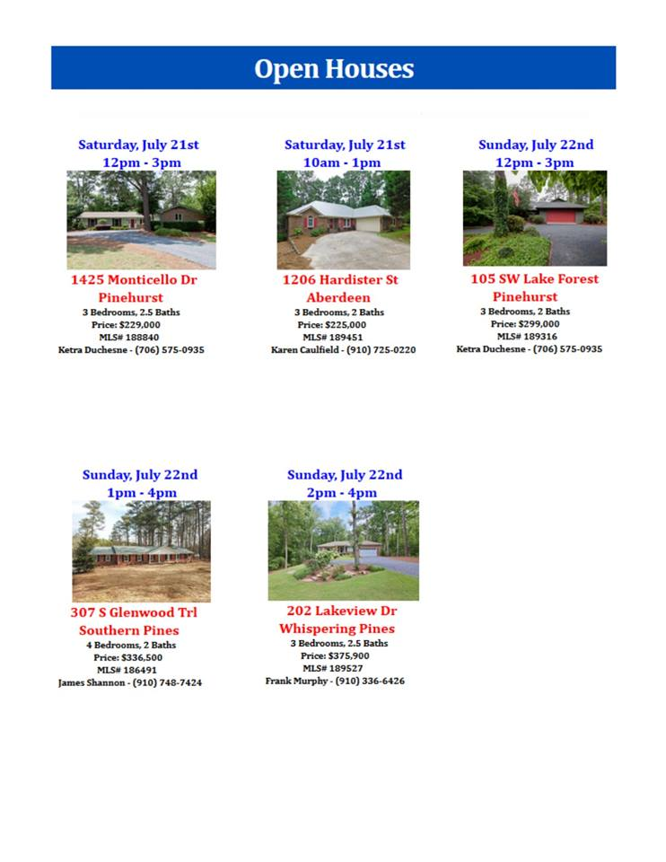 open houses july 21 22