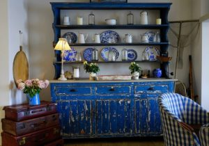 distressed blue china cabinet