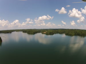 Beautiful overhead view of placid Lake Wedowee