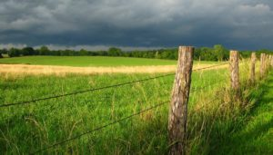 green pasture barb wire fence cloudy skies