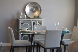 silver and pewter dining room