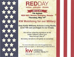 The goal for the 2015 Lake Havasu Keller Williams Red Day Event is to gather enough donated items to fill 100 care packages for our troops overseas.